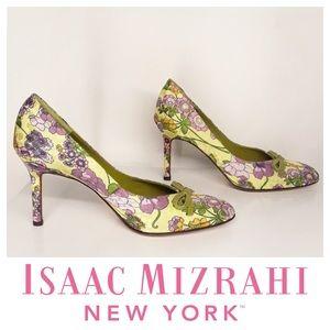 Isaac Mizrahi Green Floral Bow Leather Heels 5.5